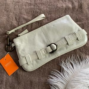 LATICO | White Leather Wristlet with brass accents